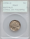 """Buffalo Nickels, (3)1938-D 5C MS65 PCGS. The current Coin Dealer Newsletter(Greysheet) wholesale """"bid"""" price is $39.00.... (Total: 3 coins)"""