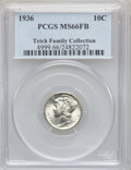 Mercury Dimes: , 1936 10C MS66 Full Bands PCGS. EX:Teich Family Collection. PCGSPopulation (710/193). NGC Census: (200/75). Mintage: 87,504...