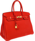 Luxury Accessories:Bags, Hermes 35cm Cappuccine Togo Leather Birkin Bag with Gold Hardware....