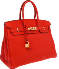 Hermes 35cm Cappuccine Togo Leather Birkin Bag with Gold Hardware
