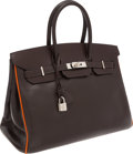 Luxury Accessories:Bags, Hermes Special Order 35cm Two-Tone Chocolate & Potiron Calf Box Leather Birkin Bag with Palladium Hardware. ...