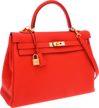 Hermes 35cm Cappuccine Clemence Leather Retourne Kelly Bag with Gold Hardware