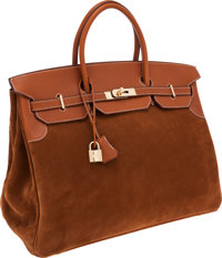 eac7d036ee Hermes 40cm Limited Edition Veau Doblis  amp  Natural Barenia Leather  Grizzly Birkin Bag with Permabrass