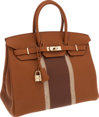 Hermes 35cm Limited Edition Gold Leather and Lizard Club Birkin Bag with Permabrass Hardware