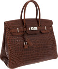Luxury Accessories:Bags, Hermes 35cm Shiny Miel Porosus Crocodile Birkin Bag with PalladiumHardware. ...
