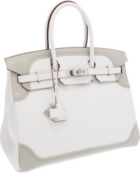 Hermes Limited Edition 35cm Gris Perle & White Swift Leather Ghillies Birkin Bag with Palladium Hardware