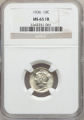 Mercury Dimes: , 1936 10C MS65 Full Bands NGC. NGC Census: (186/275). PCGSPopulation (724/903). Mintage: 87,504,128. Numismedia Wsl. Price...