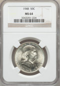 Franklin Half Dollars: , 1948 50C MS64 NGC. NGC Census: (454/485). PCGS Population(650/323). Mintage: 3,006,814. Numismedia Wsl. Price for problem...