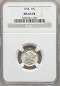 Mercury Dimes: , 1924 10C MS65 Full Bands NGC. NGC Census: (101/75). PCGS Population(145/94). Mintage: 24,010,000. Numismedia Wsl. Price fo...