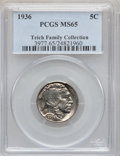 Buffalo Nickels: , 1936 5C MS65 PCGS. EX:Teich Family Collection. PCGS Population(2140/1239). NGC Census: (914/1116). Mintage: 119,001,424. N...