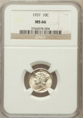 Mercury Dimes: , 1937 10C MS66 NGC. NGC Census: (793/424). PCGS Population(782/187). Mintage: 56,865,756. Numismedia Wsl. Price forproblem...