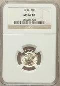 Mercury Dimes: , 1937 10C MS67 Full Bands NGC. NGC Census: (494/15). PCGS Population(736/39). Mintage: 56,865,756. Numismedia Wsl. Price fo...