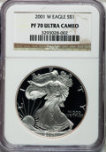 Modern Bullion Coins: , 2001-W $1 Silver Eagle PR70 Ultra Cameo NGC. NGC Census: (3494).PCGS Population (987). Numismedia Wsl. Price for problem ...