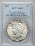Peace Dollars: , 1927 $1 MS62 PCGS. EX:Teich Family Collection. PCGS Population(1152/4270). NGC Census: (1075/2607). Mintage: 848,000. Numi...