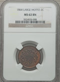 Two Cent Pieces: , 1864 2C Large Motto MS62 Brown NGC. NGC Census: (201/1088). PCGSPopulation (120/651). Mintage: 19,847,500. Numismedia Wsl....