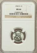 Lincoln Cents, 1943-S 1C MS66 NGC. NGC Census: (2851/2007). PCGS Population(3688/1681). Mintage: 191,550,000. Numismedia Wsl. Price for p...