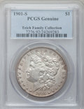 Morgan Dollars: , 1901-S $1 -- Cleaning -- PCGS Genuine. EX:Teich Family Collection.Mintage: 2,284,000. ...