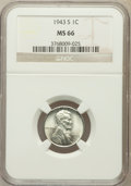 Lincoln Cents: , 1943-S 1C MS66 NGC. NGC Census: (2853/2007). PCGS Population(3764/1691). Mintage: 191,550,000. Numismedia Wsl. Price for p...