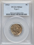 Buffalo Nickels: , 1913 5C Type One MS64 PCGS. PCGS Population (3537/5406). NGCCensus: (2036/3845). Mintage: 30,993,520. Numismedia Wsl. Pric...