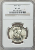 Franklin Half Dollars: , 1948 50C MS65 NGC. NGC Census: (443/42). PCGS Population (312/11).Mintage: 3,006,814. Numismedia Wsl. Price for problem fr...