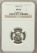 Lincoln Cents, 1943-S 1C MS66 NGC. NGC Census: (2852/2007). PCGS Population(3743/1687). Mintage: 191,550,000. Numismedia Wsl. Price for p...