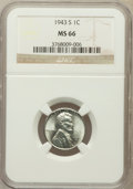Lincoln Cents, 1943-S 1C MS66 NGC. NGC Census: (2852/2007). PCGS Population(3763/1690). Mintage: 191,550,000. Numismedia Wsl. Price for p...