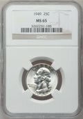 Washington Quarters: , 1949 25C MS65 NGC. NGC Census: (369/570). PCGS Population(610/528). Mintage: 9,312,000. Numismedia Wsl. Price for problem...