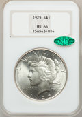 Peace Dollars: , 1925 $1 MS65 NGC. CAC. NGC Census: (10017/1781). PCGS Population(6877/1549). Mintage: 10,198,000. Numismedia Wsl. Price fo...