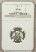 Lincoln Cents: , 1943-S 1C MS66 NGC. NGC Census: (2852/2007). PCGS Population(3763/1691). Mintage: 191,550,000. Numismedia Wsl. Price for p...