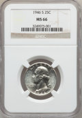 Washington Quarters: , 1946-S 25C MS66 NGC. NGC Census: (2231/325). PCGS Population(1431/118). Mintage: 4,204,000. Numismedia Wsl. Price for prob...