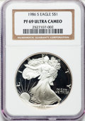 Modern Bullion Coins: , 1986-S $1 Silver Eagle PR69 Ultra Cameo NGC. NGC Census:(26643/1128). PCGS Population (10250/635). Mintage: 1,446,778.Num...