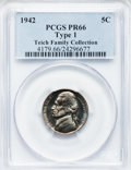 Proof Jefferson Nickels: , 1942 5C Type One PR66 PCGS. EX:Teich Family Collection. PCGSPopulation (1321/336). NGC Census: (753/299). Mintage: 29,600....