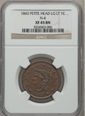 Large Cents: , 1843 1C Petite Head, Large Letters XF45 NGC. N-4. PCGS Population(0/13). Numismedia Wsl. Price for pr...