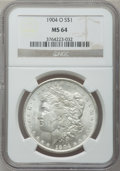 Morgan Dollars: , 1904-O $1 MS64 NGC. NGC Census: (58492/17211). PCGS Population(46256/11315). Mintage: 3,720,000. Numismedia Wsl. Price for...
