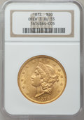 Liberty Double Eagles: , 1873 $20 Open 3 AU55 NGC. NGC Census: (486/5922). PCGS Population(492/3547). Numismedia Wsl. Price for problem free NGC/P...