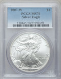 Modern Bullion Coins, 2007-W $1 Silver Eagle MS70 PCGS. PCGS Population (2763). NGCCensus: (11185). Numismedia Wsl. Price for problem free NGC/...