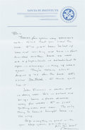 """Books:Literature 1900-up, Cormac McCarthy. Autograph Letter Signed, """"Cormac"""", one page,December 13, 2005, 5.5 x 8.5 inches, Santa Fe Institute statio...(Total: 2 Items)"""