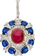 Estate Jewelry:Pendants and Lockets, Tourmaline, Sapphire, Diamond, White Gold Enhancer. ...