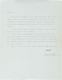 "Cormac McCarthy. Typed Letter Signed, ""Charlie,"" one page, n. d., likely 1968, plain paper watermarked ""H..."