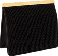 Luxury Accessories:Bags, Judith Leiber Black Crepe Leather Clutch with Gold Frame &Shoulder Strap. ...