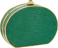 Luxury Accessories:Bags, Judith Leiber Mint Green Lizard Minaudiere Evening Bag with JadeCabochon Clasp. ...