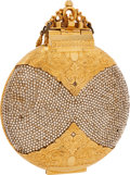 Luxury Accessories:Bags, Judith Leiber Half Bead Gold Crystal Minaudiere Evening Bag. ...