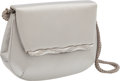 Luxury Accessories:Bags, Judith Leiber Silver Satin Evening Bag with Jeweled Trim & Shoulder Strap. ...