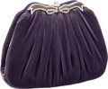 Luxury Accessories:Bags, Judith Leiber Lilac Velvet Evening Bag with Enamel & CrystalFrame. ...
