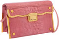 Luxury Accessories:Bags, Judith Leiber Pink Lizard Clutch with Gold Hardware & ShoulderStrap. ...