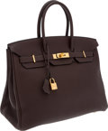 Luxury Accessories:Bags, Hermes 35cm Chocolate Togo Leather Birkin Bag with Gold Hardware....