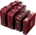 Luxury Accessories:Travel/Trunks, Cartier Set of Four; Burgundy Leather & Suede Luggage Set. ...(Total: 4 Items)