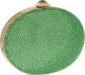 Luxury Accessories:Bags, Judith Leiber Full Bead Green Crystal Minaudiere Evening Bag. ...