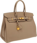 Luxury Accessories:Bags, Hermes 35cm Gris Tourterelle Togo Leather Birkin Bag with Gold Hardware. ...