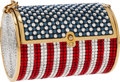 Luxury Accessories:Bags, Judith Leiber Full Bead Red, White & Blue Crystal MinaudiereEvening Bag. ...